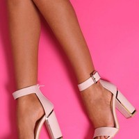 Talamanca Nude and Gold Block Heels | Pink Boutique