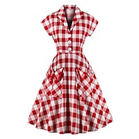 Red 1950s Pockets Plaid Dress