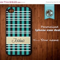 20% OFF SALE Personalized iPhone Case - Plastic or Silicone Rubber Monogram iPhone 4 4S Case Cover - K097