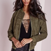 Missguided - Faux Suede Bomber Jacket Khaki