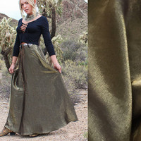 90s Gold Metallic Goddess Maxi Skirt S/M | Womens Boho Chic Formal Evening Skirt | Flowy Long Silky Full Swing High Waisted Long Gypsy Skirt