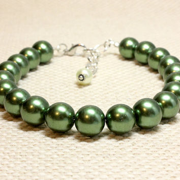Extra Large Green Pearl Dog and Cat Jewelry. Dark Green Pet Jewelry, Great for Larger Dogs. Big Forest Green Pearl Beads Medium Dogs