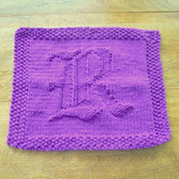 Monogramed Hand Knitted Old English Letter R Purple Picture Dish Cloth or Wash Cloth