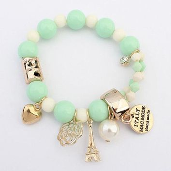 7 colors beaded cute hearts romantic roses name plate Eiffel pearl beads bracelet jewelry