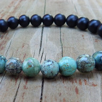 Mens African Turquoise with Black Onyx Bracelet