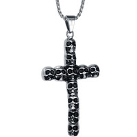 Stainless Steel Gothic Skull Cross Pendant Necklace