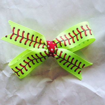 Softball hair bow-Softball double loop hair bow-Hair Clips-Hair Barrettes
