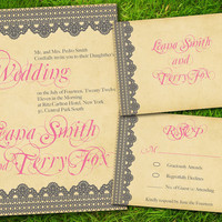 DIY Printable - Vintage Lace Classic Pink Grey Formal Customizable Wedding Invitation Card