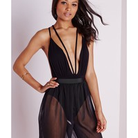 Missguided - Twin Strap Plunge Bodysuit Black