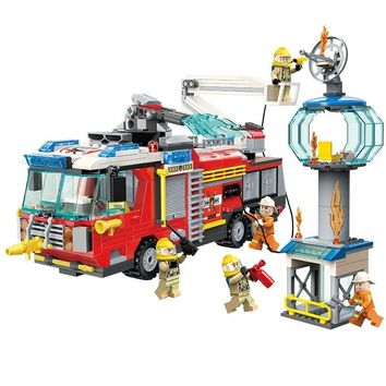 ENLIGHTEN City Police Firefighter Rescue Ladder Truck Spray Water Car Train Building Blocks Sets Kids Toys Compatible Legoings