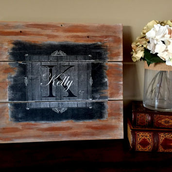 Rustic Last Name Monogram Wood Sign/Chalkboard Last Name Sign/Distressed Wood Monogram Sign/Last Name Initial Sign/Wooden Last Name Initial