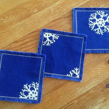 Drink coaster Handmade fabric coaster Snow flake coaster Cross stitch coaster