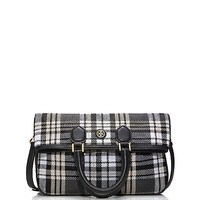 Tory Burch Robinson Plaid Fold-over Messenger