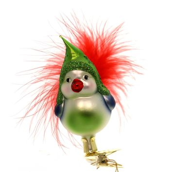 Inge Glas HAPPY BIRD ORNAMENT Glass Clip-On Feather Christmas 10051S018