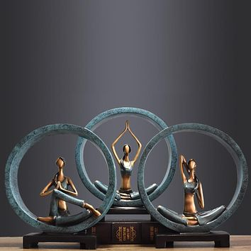 Beautiful yoga girl resin sculpture  for Home and Office decoration