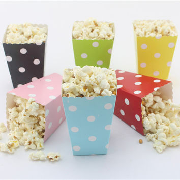 12pcs/lot Wedding Decoration Mini Popcorn Boxes Polka Dot Candy Buffet Favor Party Paper Bags Movie Home Baby Shower Supplies