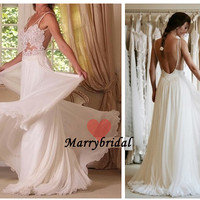 Sexy Backless A-line Spaghetti Floor length Chiffon Beach Wedding dresses Bridal gown,Plus Size Empire Wedding dress, Reception dress MB0135
