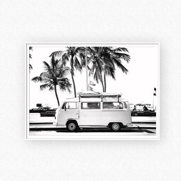 Vintage Coastal Photography Print Retro  Camper And Black Palm Tree Canvas Painting Wall Picture Coastal Art Decor