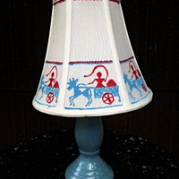 Handpainted Lamp Shade,Table Lamp Shade,Warli Painting,Blue White Colors,Tribal Art, Bed side Lamp Shade
