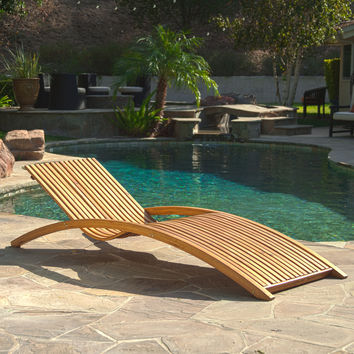 Shannon Outdoor Wood Chaise Lounge Sunbed
