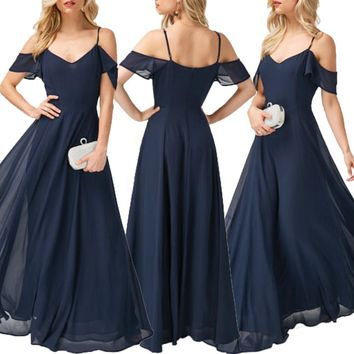 Blue Straps Long Evening Dress with Lining