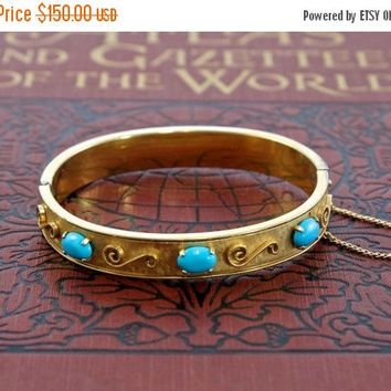 Vintage Victorian Revival Gold Filled Turquoise Bangle, Circa 1950 Krementz Filigree Scrolls and Genuine Turquoise Cabochon Bracelet