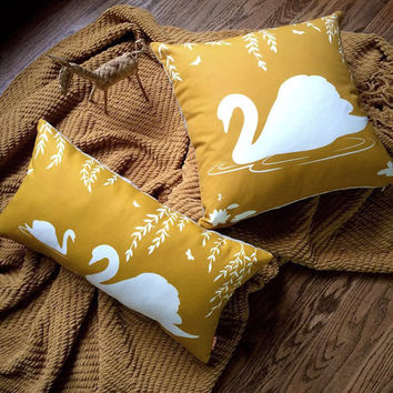 White and Golden Brown Swan in the Swamp Rectangle Linen Pillow