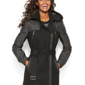 BCBGeneration Asymmetrical Faux-Leather-Trim Hooded Walker Coat | macys.com