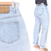 "Sz 8 90s Gitano High Waisted Mom Jeans - Vintage Women's Relaxed Fit Tapered Light Blue Jeans - 28"" Waist"