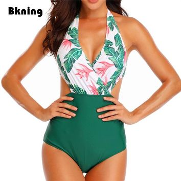Deep V Neck Swimwear One Piece Swimsuit Bikini  Sexy Backless Female 2019 Trikini Halter Bandage Bathing Suit High Waist Suit XL