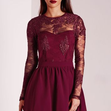 Missguided - Premium Lace Long Sleeve Skater Burgundy