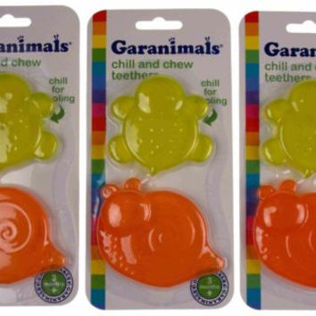 Lot 3 Garanimals Chill Chew Teether Snail Turtle Baby Biting Toy Dishwasher Safe