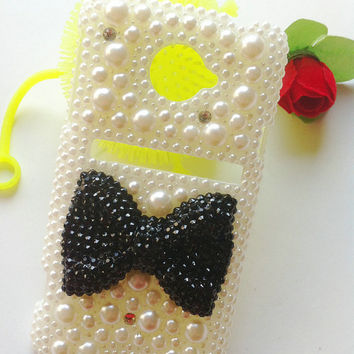 Sprint HTC Evo 4G LTE Handmade Charms Fashion Phone Case Cover Skin Bling Colorized Bowknot Pearls Rhinestones Crystals