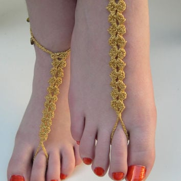 Golden Barefoot Sandals, barefoot sandles, Sexy jewelry, Soleless Sandals, Beach Wedding,Bridesmaid accessory