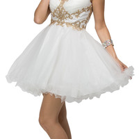 Thick Straps Poofy Embellished Sweet Sixteen Party Dress Off White