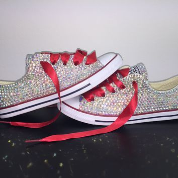 All Star Chuck Taylor Converse Bedazzled In AB Crystal Red Laces