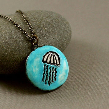 Little Jellyfish Necklace - Polymer Clay - Soft Turquoise Blue