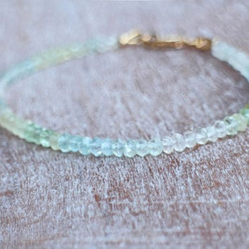 Aquamarine Bracelet Gold, Delicate Bracelet Aquamarine Gemstone 14k Gold-Filled, March Birthstone Bracelet