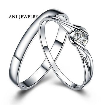ANI 18K White Gold (AU750) Wedding Ring 0.1 CT Certified I/SI1 Natural Diamond Jewelry Twist Couple Engagement Ring Customized