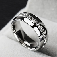 diamond ring stainless steel for men and women fashion couple ring - gold/silver/Rose Gold