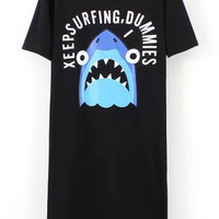 Black Graphic and Shark Print High Low Dress