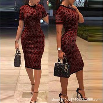 Fendi Sexy Popular Women F Letter Print Short Sleeve Round Collar High Waist Knee-Length Dress