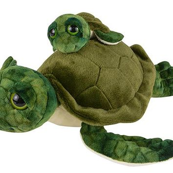 12 and 5 Inch Stuffed Sea Turtle Mom and Baby Plush Floppy Zoo Animal Family Collection