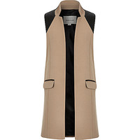 Girls camel brown sleeveless jacket