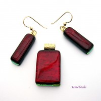 Candy Apple Red Dichroic Glass Jewelry Set Pendant and Dangle Earrings