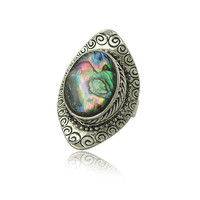 Boho Vintage Shimmery Abalone Shell Ring in Antiqued Tibetan Silver Style