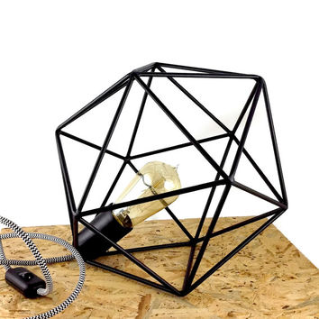 Polyhedron Geometric Table Lamp Industrial Cage Lamp Vintage Lighting Icosahedron Diamond Lamp