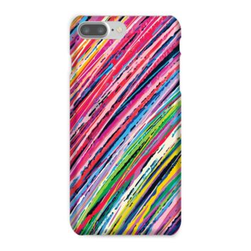 Pink and Green Colored Pencil Stripes Phone Case