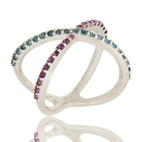 925 Sterling Silver Criss-Cross X Ring With Amethyst And Blue Topaz Gemstone