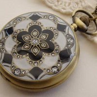 1- Rhinestone Pocket Watch Copper Metal Black and White Crystal Ceramic Pendant Finished Pocket Watch Necklace